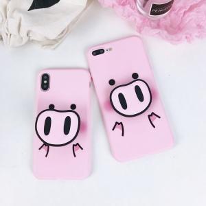Ốp dẻo HEO HỒNG iPhone (có popsocket và dây đeo cổ)